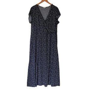 Olivia Matthews Maxi Dress Plus 2X Polka Dot Blue